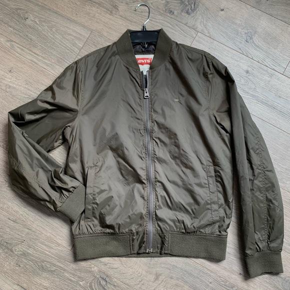 Levis Mens Army Green Bomber Jacket Sz S